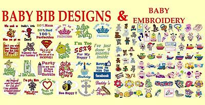 2 In 1, Baby Bib Designs/Slogans,And 300+ Baby Designs Pes Embroidery Machine Cd