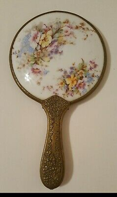 Antique Art Nouveau Hand Mirror Hand Painted Porcelain with Brass Handle & Frame