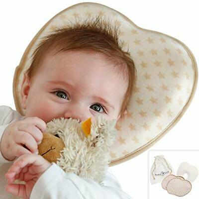 Flat Head Baby Pillow Set - 2 Organic Cotton Cases Natural Baby Head Shaping Pil