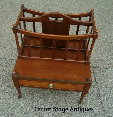 60047 Mahogany Magazine Rack With drawer