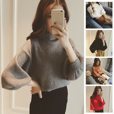 Women Winter Long Sleeve Jumper Knitted Baggy Sweater Tops Warm Pullover Shirts