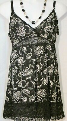 Womens Gown Lingerie Chemise Black White Floral Print Size XL Body Form