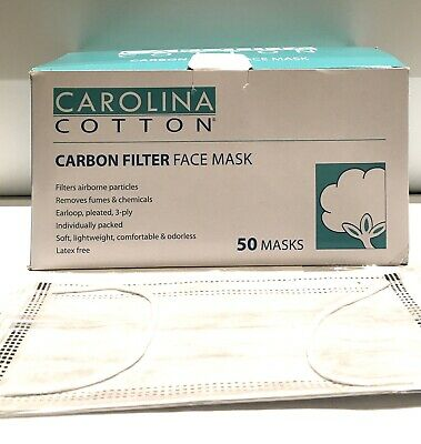 Carolina Cotton Carbon Filter Face Mask 50ct/box - Medical Grade - Ind. Wrapped