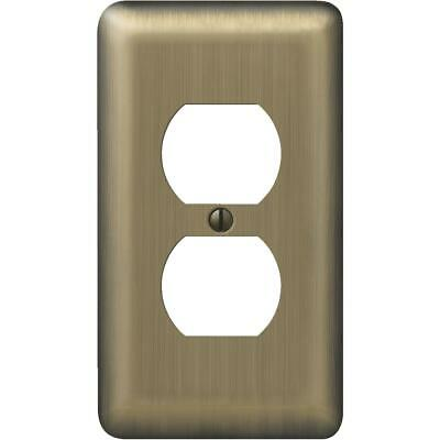 Amerelle 1-Gang Stamped Steel Outlet Wall Plate, Brushed Brass 154D  - 1 Each