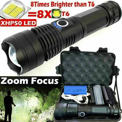 XHP50 Powerful 900000 Lumens Zoom Flashlight LED USB Rechargeable Torch Headlamp