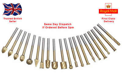 20 PC HSS Routing Router Grinding Bit Set Burr Speed Kit for Dremel Wood Carving