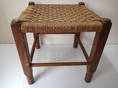 "Vintage FOOT STOOL Wicker Brown Woven Rattan Wooden Retro 13""x12.5""x12.5"""