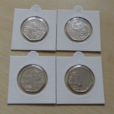 Paddington Bear Complete 2018 And 2019 50p Coin Set Of 4 50 Pence in Holders