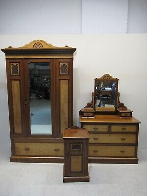 Victorian 3 Piece Bedroom Suite Wardrobe Dressing Table Bedside Maple & Walnut