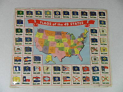 COMPLETE SET of 49 NABISCO FLAGS AND U.S. MAP