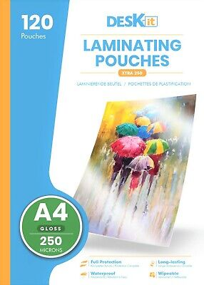 Deskit Laminating Pouches A4 Size 250 Microns 30 Pack Laminate Sheets