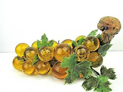 """Vintage Lucite Acrylic Grapes Mid-Century Amber Gold Yellow Driftwood 13"""" NICE"""