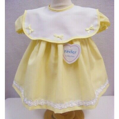 Baby Girls Traditional Spanish Romany Style White Lace /& Ribbon Frilly Dress