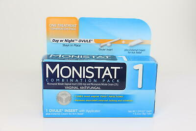 2 PACK Monistat 1-Day Yeast Infection Ovule + ItchCream Combo Pack EXP 8/20 U15B