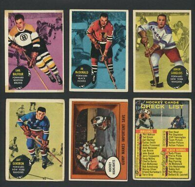 1961-62 Topps NHL Hockey Cards  U-Pick   Choose Single Cards to Complete Set