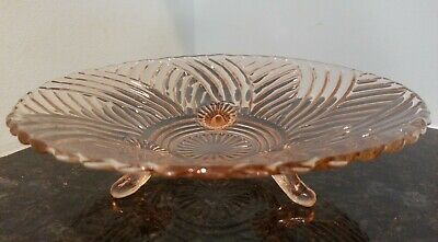 Pink Vintage Depression Glass 3 Footed Bowl w/ Swirl Design, 10 inches