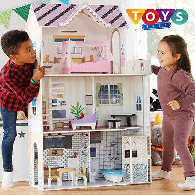 Large Kids Wooden Dolls House Traditional Toy Play Set 3 Floors With Balcony New