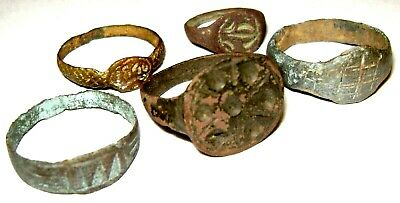 Ancient medieval lot of 5 pcs bronze finger Rings.