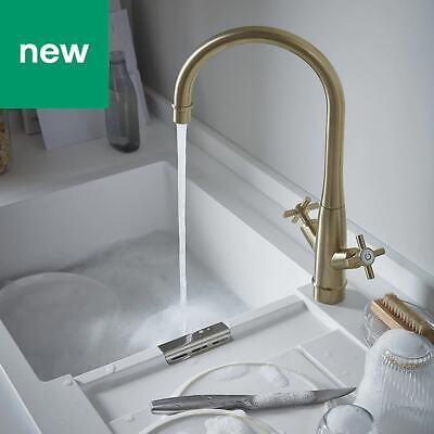 💖 GoodHome® Filbert Brushed Brass Effect Kitchen Twin Lever Mixer Tap >>> Gold