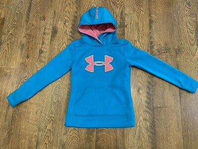 Under Armour Girls Blue Pink Hoodie Sweatshirt Youth Small Loose Fit