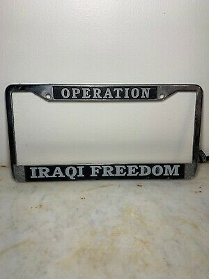 VETERAN OPERATION ENDURING FREEDOM Chrome Metal Motorcycle License Plate Frame