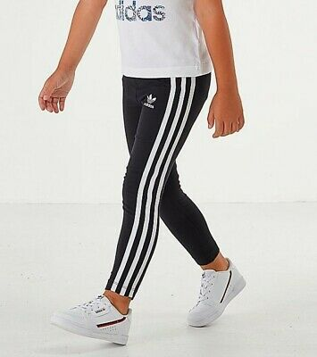 GIRLS adidas Originals 3 Stripes Leggings Black White - Size S (UK: 4-5Y)