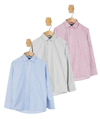 Boys Kids Slim fit Floral Patterned Casual Smart Cotton Green Pink Blue Shirts