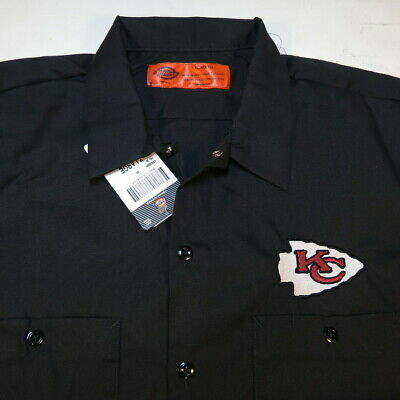 NEW KC KANSAS CITY CHIEFS NFL FOOTBALL DICKIES Embroidered WORK SHIRT All Sizes