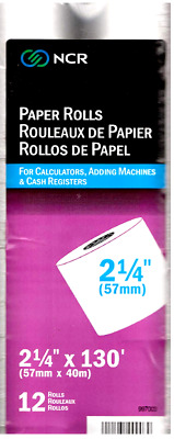 "12 Paper Rolls for Calculators, Adding Machines & Cash Registers 2 1/4"" x 130'"