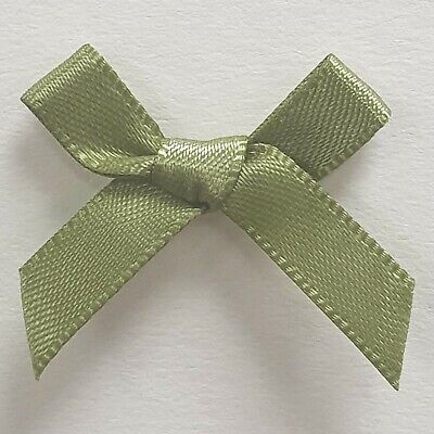 EARTHY MOSS GREEN SATIN RIBBON BOWS Craft Wedding Florist Hair Gift Party 3-5cm