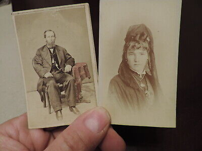 Keokuk IA Cabinet Card Photos Photographers I.D. Dan Jones & Woman in Mourning