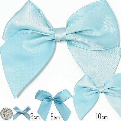 Pre-Tied Light BABY BLUE SATIN RIBBON BOW Small- Large Crafts Gift Wrap Florist