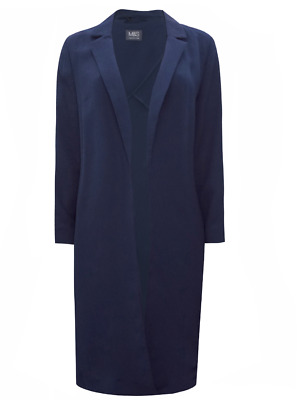 Ex Marks and Spencer Crepe Longline Duster Coat Jacket Blazer Size 8 - 20