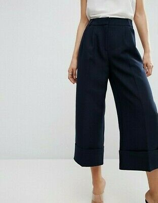 Asos Navy Blue High Waist Wide Leg Culottes Trousers With Deep Turn Up Size 10