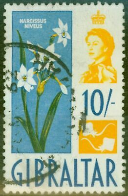 Gibraltar 1960 10s Yellow & Blue SG172var Extra Petal on Flower Fine Used