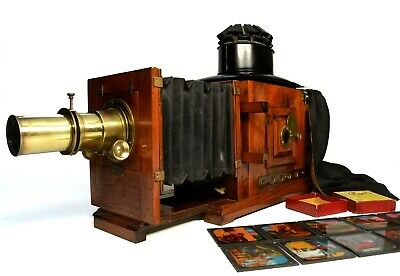 Victorian magic lantern, mahogany/brass, bellows extension, limelight burner