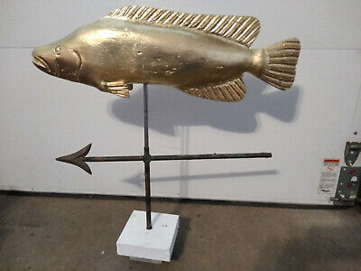 Wood Wooden Atlantic Cod Fish Weathervane Folk Art hand carved gold leaf gilt