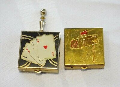 Vintage Compact Purse Ashtray Pill Box Lot of 2 Mid century Vanity