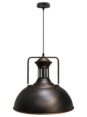 Vintage Antique Brass Shade Ceiling Hanging Pendant Rusty Industrial Light M0131