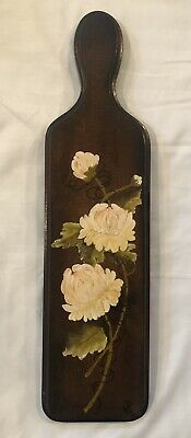 Vintage Artist Signed Hand Painted Wooden Paddle Wall Hanging Country Decor