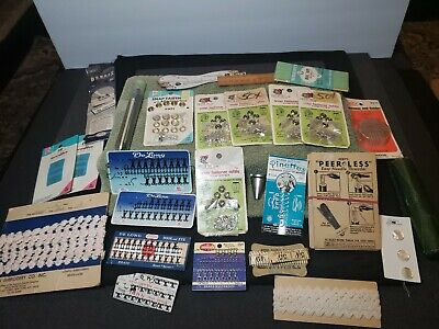 Vintage Sewing Accessories Lot Hook and Eye Needle Threader Snap Fasteners Lace