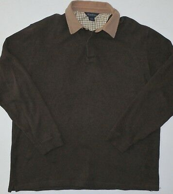 Mens XL Brooks Brothers LS Dark Brown Rugby Polo Shirt