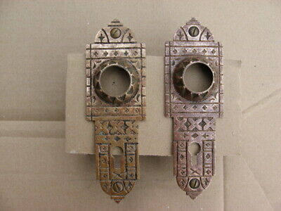 Pair of Vintage Antique Victorian Solid Brass Door Knob Backplates