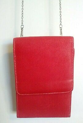 Vintage Small Red Genuine Leather Crossbody Organizer Purse Bag w/ Metal Chain