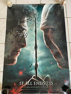 Harry Potter 8 Os Cinema Movie Poster - Deathly Hallows - It All Ends - Rare