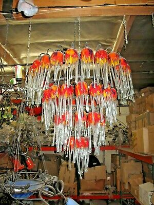 Art Deco 4 Level Wrought  Iron Chandelier & 54 Flowing Blown Glass Shades #4
