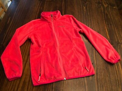 COLUMBIA Girls Pink Fleece Zip Front Jacket Medium M (10-12) EUC