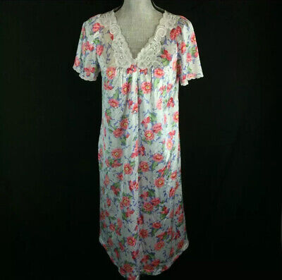 Vintage 70s 80s Vanity Fair Size Medium M Night Gown House Dress Floral Button D