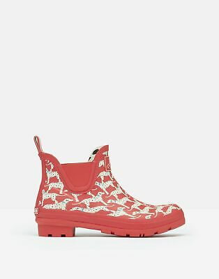Joules Womens Wellibob Short Height Wellies - RED DALMATIAN