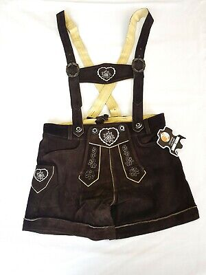 Ladies Leather Trousers with Straps Bayernhosen Costume Shorts Embroidery Braun